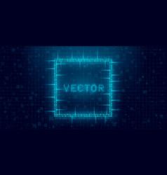 Futuristic cyberpunk glitch rectangle blue vector