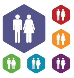 Gender hexagon icon set vector image