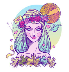 Girl symbolizes the zodiac sign virgo pastel goth vector