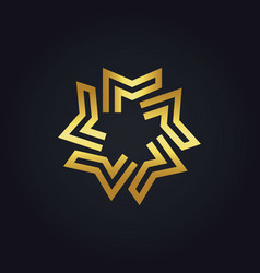 Gold geometry star logo vector