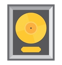 Golden vinyl in frame on wall vector