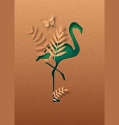 green paper cut flamingo bird nature concept vector image