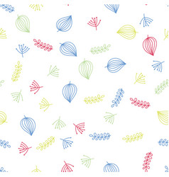hand drawing leaves and foliage pattern colorful vector image