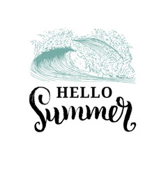 hand lettering inspirational poster hello summer vector image