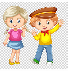 happy boy and girl waving vector image