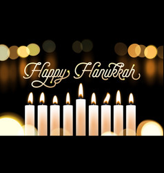 Happy hanukkah candle lights bokeh and golden vector