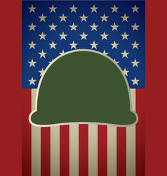 icon military helmet on usa flag vector image