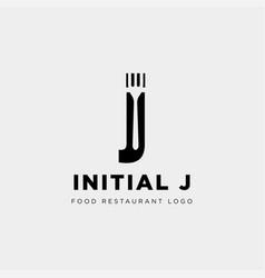 Initial j food equipment simple logo template vector