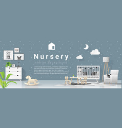 Interior background with modern baby bedroom vector