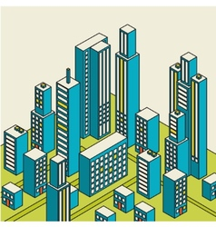 isometric city center on the map with lots vector image