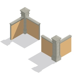 isometric fence set construction kit vector image
