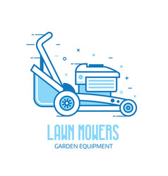 Lawn mower grass cutter logo vector