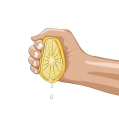 Lemon with hand vector