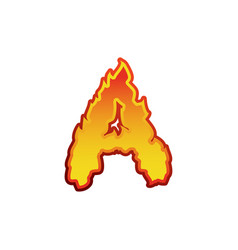 Letter a fire flames font lettering tattoo vector