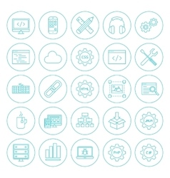 Line Circle Programming Icons vector