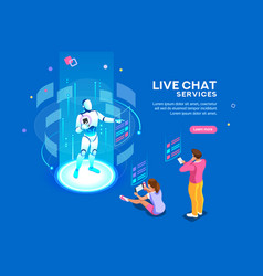 live chat services isometric concept vector image