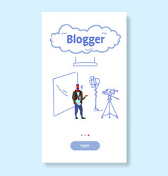 man blogger recording video on camera guy standing vector image