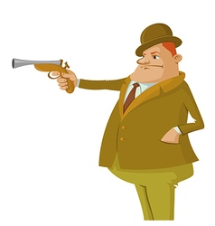 Man with dueling pistol vector