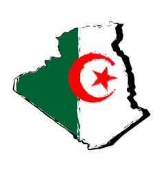 map of algeria with flag vector image