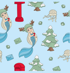 mermaid letter pattern seamless new year vector image