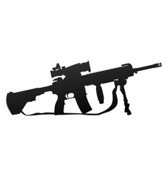 military style automatic rifle silhouette vector image