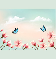 nature spring background with a pink magnolia vector image