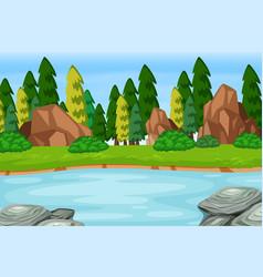 Outdoor woods lake scene vector