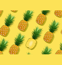 pineapple seamless pattern whole and in vector image
