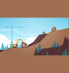 professional equipment working on coal mine vector image