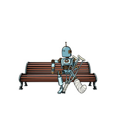 Robot with broken leg in plaster rest in the park vector