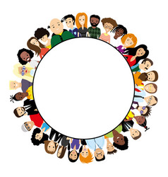 round frame with different people vector image