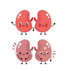 Sad suffering sick cute and healthy happy kidneys vector