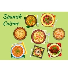 Seafood and meat dishes of spanish cuisine vector