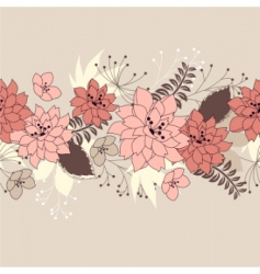 seamless horizontal floral pink pattern vector image
