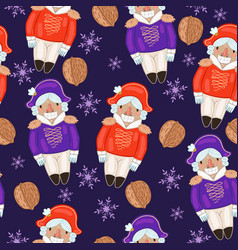 seamless pattern with nutcrackers and nuts vector image