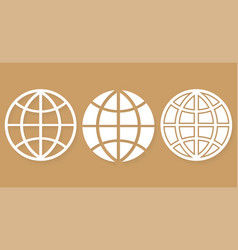 set different icons world globe with shadow vector image
