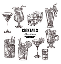 Set of alcoholic cocktails hand drawn drinks in vector