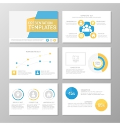 Set of blue and yellow template for multipurpose vector
