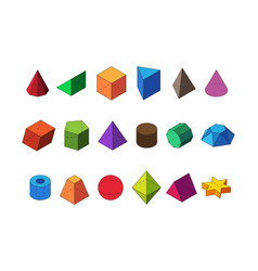 shapes geometric isometric big set polyhedral vector image