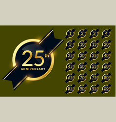 Shiny golden anniversary labels badge set vector