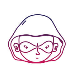 Sihouette thief crimical head with mask design vector