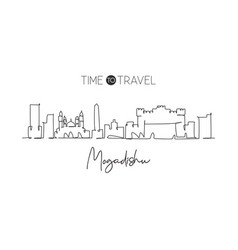 single continuous line drawing mogadishu city vector image