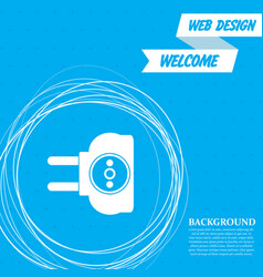 socket icon on a blue background with abstract vector image