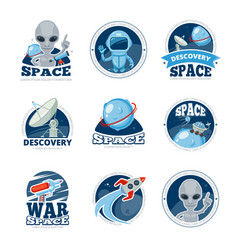 Space labels collection badges spaceship rocket vector