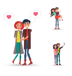 three happy pair of girl and boy with pink hearts vector image