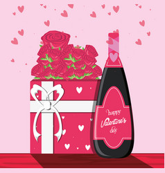 Valentines day card with gift and bottle wine vector