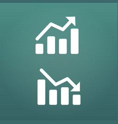 White up and down graph icon in trendy flat style vector