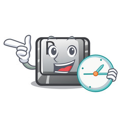 with clock button p in shape mascot vector image