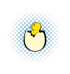 Yellow newborn chicken hatched from the egg icon vector image