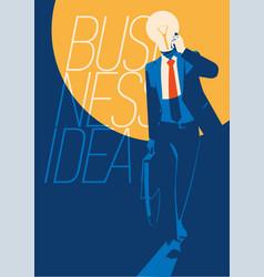 businessman with light bulb instead head idea vector image